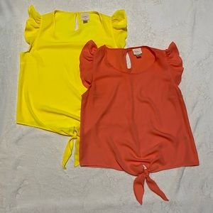 2 Pack Sleeveless Front Tie Blouses